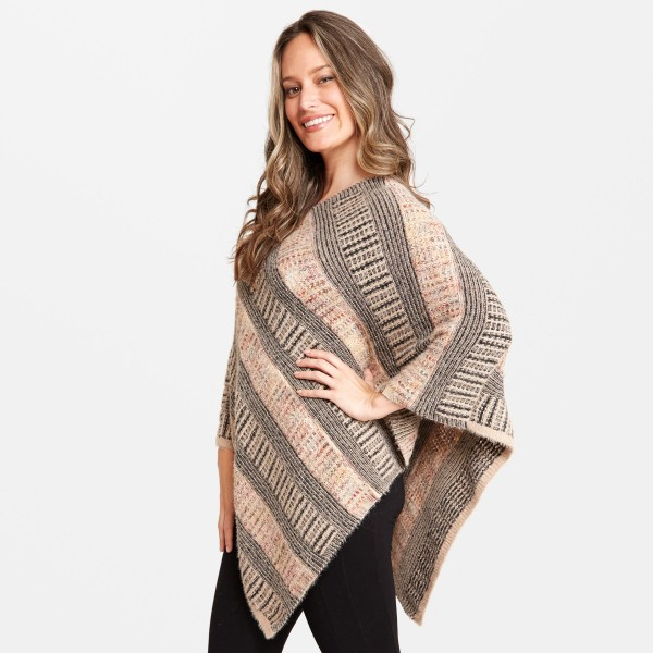 "Fuzzy Knit Multicolor Stripe Poncho.  - One size fits most 0-14 - Approximately 35"" L - 100% Acrylic"