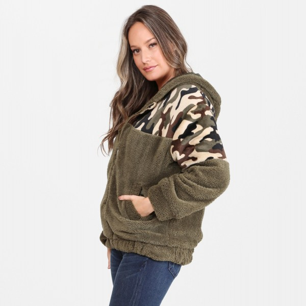 Hooded Camouflage Faux Sherpa Coat.  - Crepe Satin Lined - Zipper Closure - Hood  - Two Functional Pockets - One size fits most 0-14 - 100% Polyester