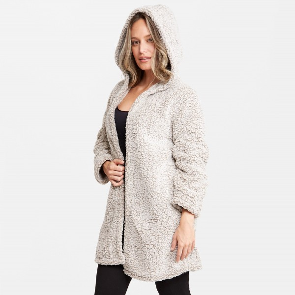 "Women's Hooded Sherpa Coat.  - Hooded - Hook & Eye Front Closure - One size fits most 0-14 - Approximately 36"" Long - 100% Polyester"
