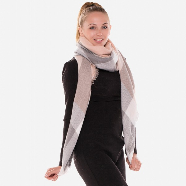 """Pink and Grey Plaid Print Blanket Scarf.  - Approximately 60"""" x 60""""  - 100% Acrylic"""