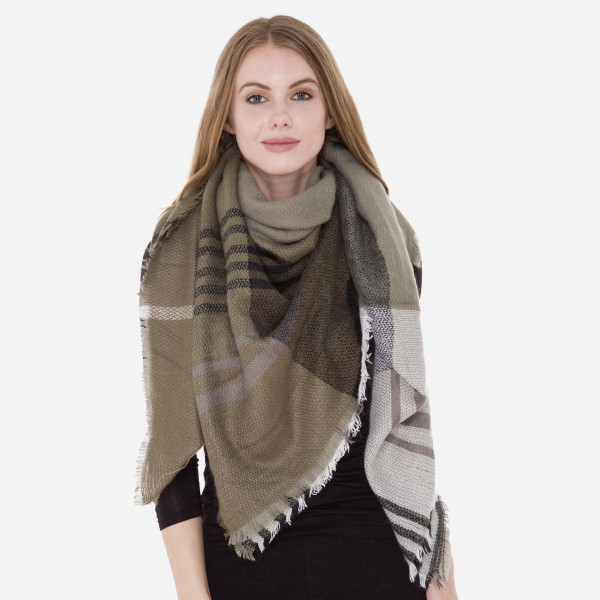 "Grey/Olive Plaid Stripe Blanket Scarf.  - Approximately 56"" W x 63"" L  - 100% Acrylic"