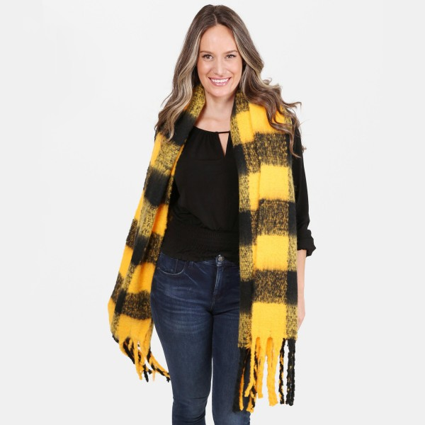 "Women's Fluffy Fleece Buffalo Check Scarf Featuring Fringe Tassels.  - Approximately 21"" W x 70"" L  - 100% Acrylic"