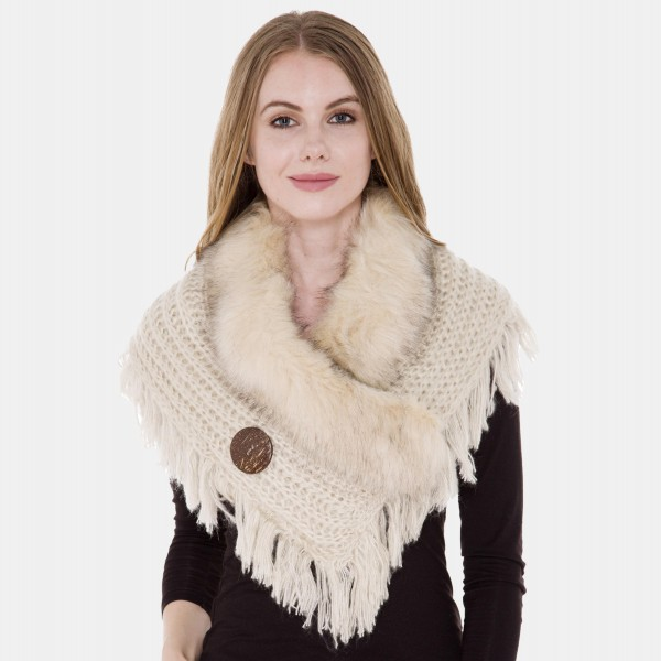 "Crochet Knit Faux Fur Cowl Neck Shawl Featuring Coconut Button Details with Fringe Tassels.  - One size fits most - 18"" Shoulder Width - Approximately 21"" L - 100% Acrylic"