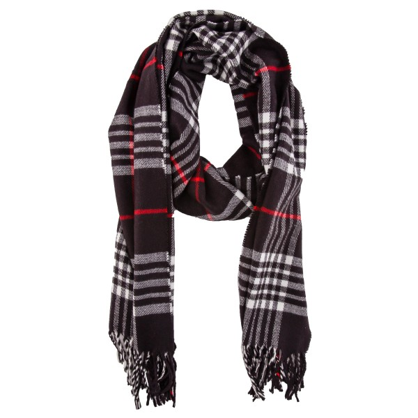 """Soft Knit Plaid Oblong Scarf Featuring Fringe Tassels.  - Approximately 12"""" W x 70"""" L - 100% Viscose"""
