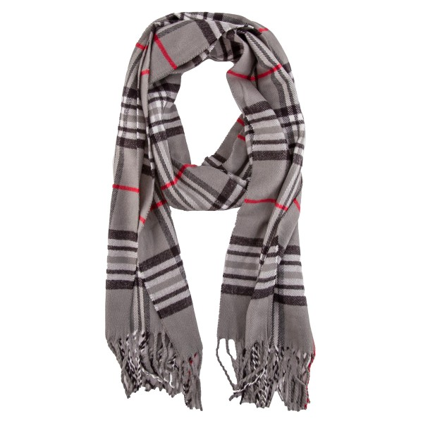 "Soft Knit Plaid Oblong Scarf Featuring Fringe Tassels.  - Approximately 12"" W x 70"" L - 100% Viscose"