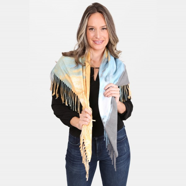 "Lightweight Tie-Dye Square Scarf Featuring Fringe Tassels.  - Approximately 40"" x 40""  - 100% Acrylic"