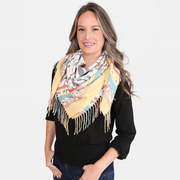 "Multi Stripe Animal Print Square Scarf Featuring Fringe Tassels.  - Approximately 40"" x 40""  - 100% Acrylic"