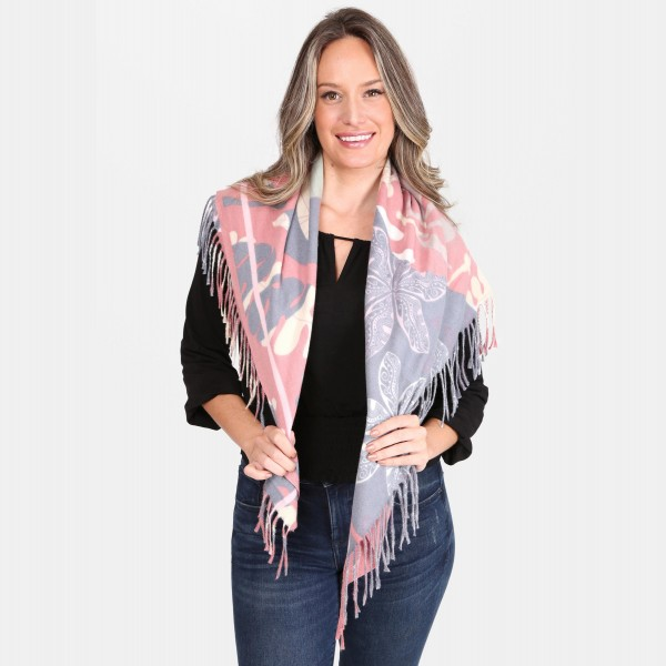 "Palm Leaf Floral Print Square Scarf Featuring Fringe Tassels.  - Approximately 40"" x 40""  - 100% Acrylic"