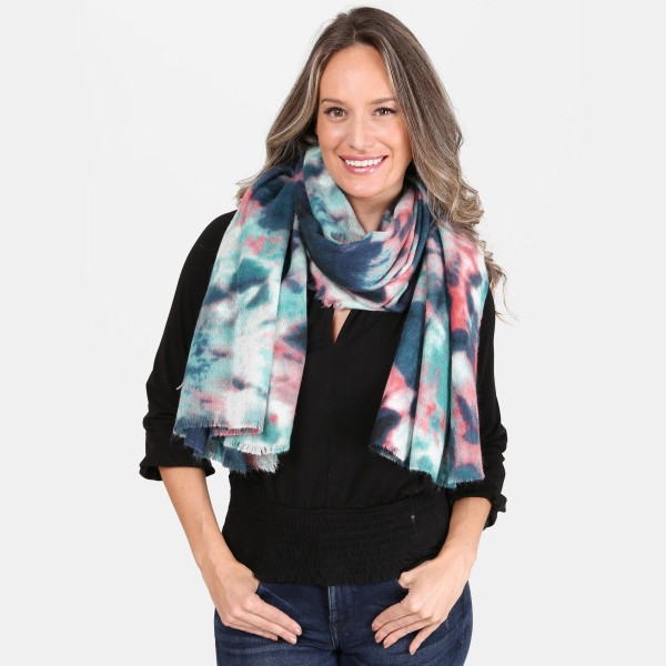 "Tie-Dye Print Blanket Scarf.  - Approximately 36"" x 36""  - 100% Acrylic"