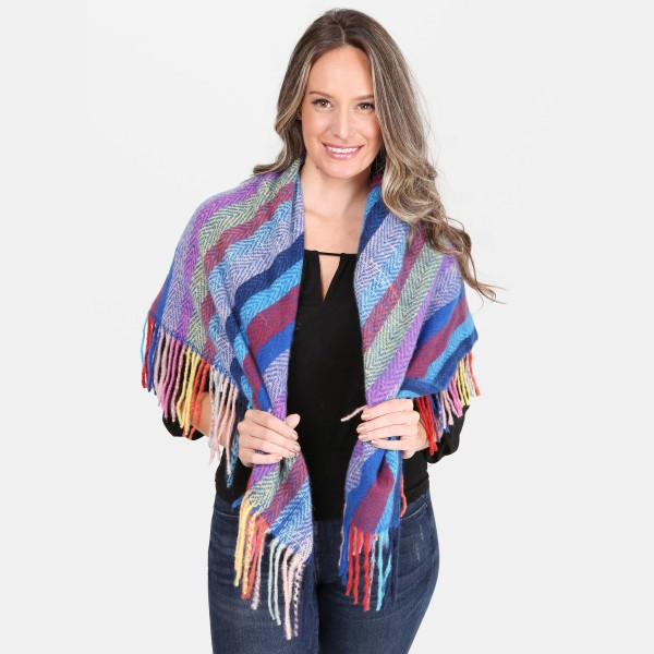 "Multicolor Stripe Square Scarf Featuring Fringe Tassels.  - Approximately 40"" x 40""  - 100% Acrylic"