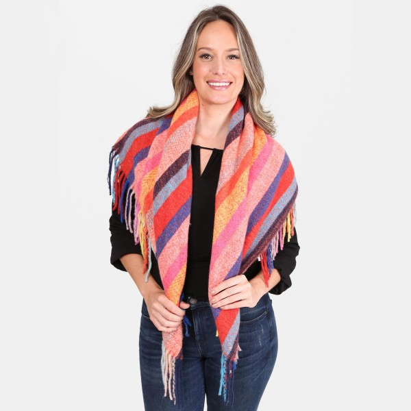 """Multicolor Stripe Square Scarf Featuring Fringe Tassels.  - Approximately 40"""" x 40""""  - 100% Acrylic"""