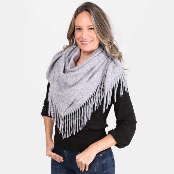 """Solid Color Square Scarf Featuring Fringe Tassels.  - Approximately 40"""" x 40""""  - 100% Acrylic"""