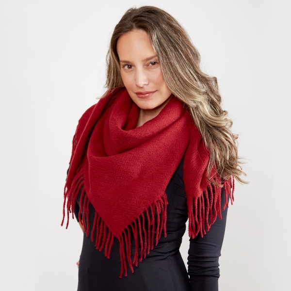 "Solid Color Square Scarf Featuring Fringe Tassels.  - Approximately 40"" x 40""  - 100% Acrylic"