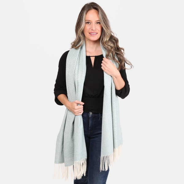 """Woven Knit Oblong Scarf Featuring Fringe Tassels.  - Approximately 26"""" W x 72"""" L - 100% Acrylic"""