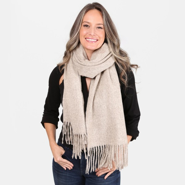 "Solid Color Oblong Scarf Featuring Fringe Tassel Trim.  - Approximately 26"" W x 80"" L - 100% Acrylic"