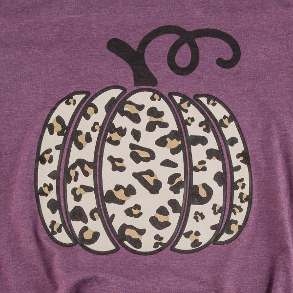 Leopard Print Pumpkin Graphic Tee.  - Printed on a Bella Canvas Brand Plum Tee - Pack Breakdown: 6 Shirts Per Pack - Sizes: 1-S / 2-M / 2-L / 1-XL - 52% Cotton / 48% Polyester
