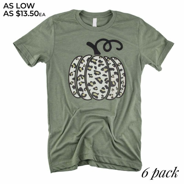 Leopard Print Pumpkin Graphic Tee.  - Printed on a Gildan Softstyle Brand Olive Tee - Pack Breakdown: 6 Shirts Per Pack - Sizes: 1-S / 2-M / 2-L / 1-XL - 52% Cotton / 48% Polyester