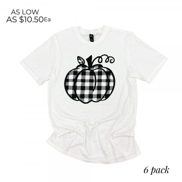 Plaid Pumpkin Graphic Tee. (6 Pack)  - Printed on a Anvil Lightweight White Tee - Pack Breakdown: 6pcs/pack - Sizes: 1-S / 2-M / 2-L / 1-XL - 100% Cotton