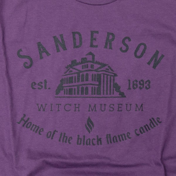 """Sanderson Witch Museum"" Graphic Tee.  - Printed on an American Apparel Purple Tee - Pack Breakdown: 6pcs/pack - Sizes: 1-S / 2-M / 2-L / 1-XL - 100% Cotton"