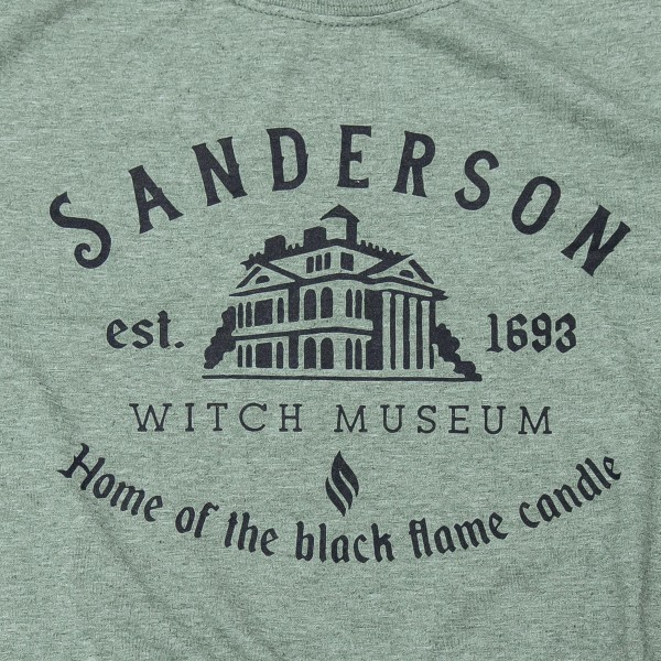 """Sanderson Witch Museum"" Graphic Tee.  - Printed on a Gildan SoftStyle Heather Green Tee - Pack Breakdown: 6pcs/pack - Sizes: 1-S / 2-M / 2-L / 1-XL - 65% Polyester / 35% Cotton"