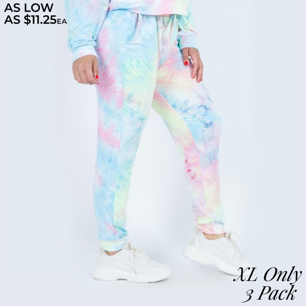"Women's Tie-Dye Lounge Around Jogger Pants. (3 PACK)* (XL ONLY)* (PANTS ONLY)*   • Banded cuffs • Drawstring elasticize waistband • Two side pockets for keeping your hands warm • Relaxed fit • Soft and stretchy • Comfortable for lounging at home • Imported  - Pack Breakdown: 3 Pair Per Pack - Sizes: XL ONLY - Inseam approximately 26"" L - 95% Polyester / 5% Spandex"