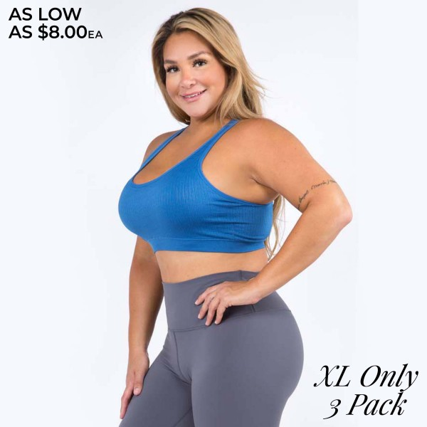 Women's Active Ribbed Macrame Cut Out Sports Bra. (3 PACK)* (XL ONLY)*  • Scoop Neck • Removable padding shapes & supports • Rib knit texture • Macrame cut out back detail • Seamless design • Soft and stretchy • Pull Over Style • Compressive Fit  - Pack Breakdown: 3 Bras Per Pack - Sizes: XL ONLY - 94% Nylon, 6% Spandex