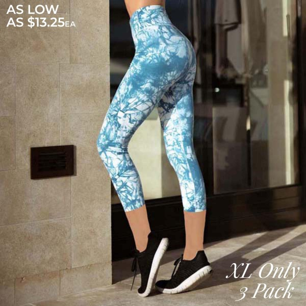 "Women's Active Tie-Dye Workout Leggings. (3 PACK)* (XL ONLY)*   • Elasticized pocket waistband • Unique tie-dye print design • 4-way stretch for a move-with-you feel • Super soft brushed knit fabrication • Moisture wicking fabric • Cotton Gusset Lining • Fits like a glove • Squat Proof • Great for all low-high impact workouts • Imported  - Pack Breakdown: 3 Pair Per Pack - Sizes: XL ONLY - Inseam approximately 26"" L  - 75% Nylon / 25% Spandex"