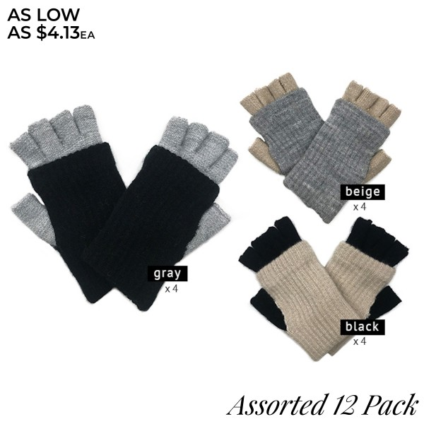 Do everything in Love Assorted Fingerless Knit Mitten Gloves. (12 Pack)  - One size fits most - Pop Top Featuring Button  - 12 Pair Per Pack - 4 Assorted Colors - 3-Black/Ivory / 3-Black/Camel / 3-Ivory/Camel / 3-Camel/Black - 100% Acrylic