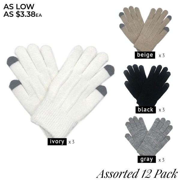 Do everything in Love Assorted Smart Touch Knit Gloves. (12 Pack)  - One size fits most - Touchscreen Compatible  - 12 Pair Per Pack - 4 Assorted Colors - 3-Ivory / 3-Black / 3-Grey / 3-Beige - 100% Acrylic
