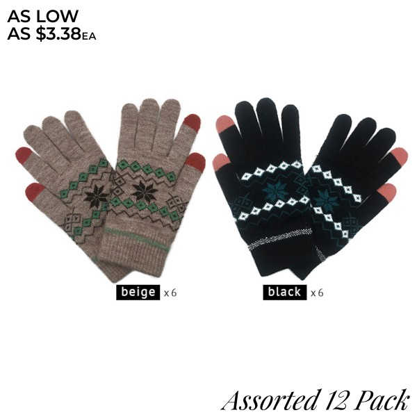 Do everything in Love Assorted Smart Touch Christmas Print Knit Gloves. (12 Pack)  - One size fits most - Touchscreen Compatible - 12 Pair Per Pack - 2 Assorted Colors - 6-Beige / 6-Black - 100% Acrylic