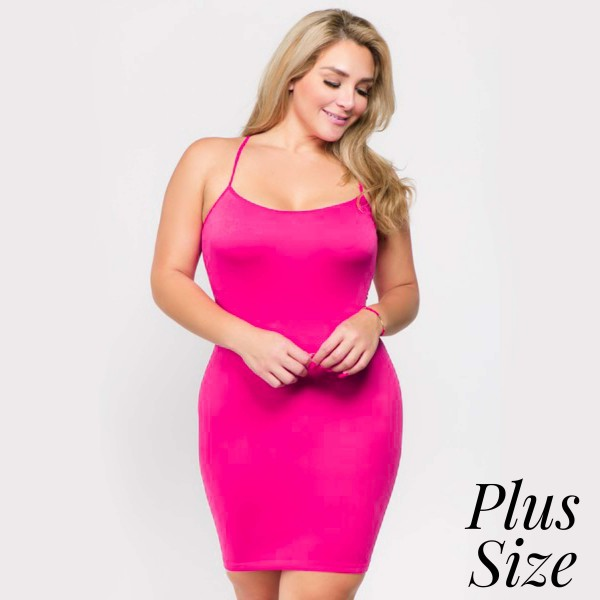 "Women's Plus Size Solid Seamless Tank Top Slip Dress.  • Thin, comfortable straps • Fits like a glove • Soft and stretchy • Seamless design for comfort • Short length hem • Imported  - One size fits most 0-14 - Approximately 26"" L - 92% Nylon, 8% Spandex"