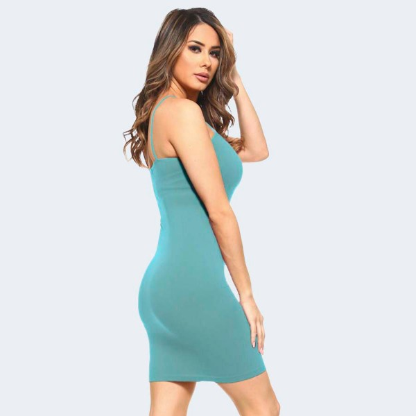 "Women's Solid Seamless Tank Top Slip Dress.  • Thin, comfortable straps  • Fits like a glove  • Soft and stretchy  • Seamless design for comfort  • Short length hem  • Imported   - One size fits most 0-14 - Approximately 26"" L - 92% Nylon, 8% Spandex"