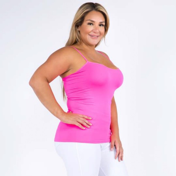 "Women's Solid Plus Size Seamless Camisole Tank Top.  • Spaghetti straps  • Seamless design for extra comfort  • Longline hem  • Soft and stretchy  • Fits like a glove  • Perfect for layering under sheer tops or by itself  • Imported  - One size fits most plus 16-22 - Approximately 18"" L - 92% Nylon / 8% Spandex"