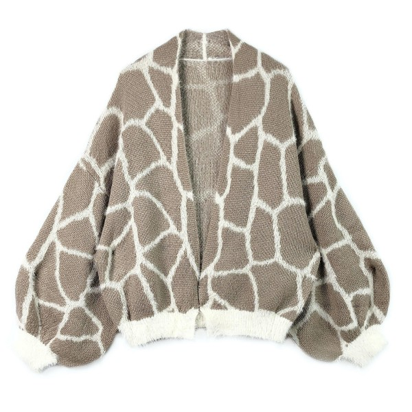 """Do everything in Love Brand Short Fuzzy Knit Giraffe Print Cardigan Featuring Balloon Sleeve Detail.  - One size fits most 0-14 - Approximately 22"""" Long - 100% Acrylic"""