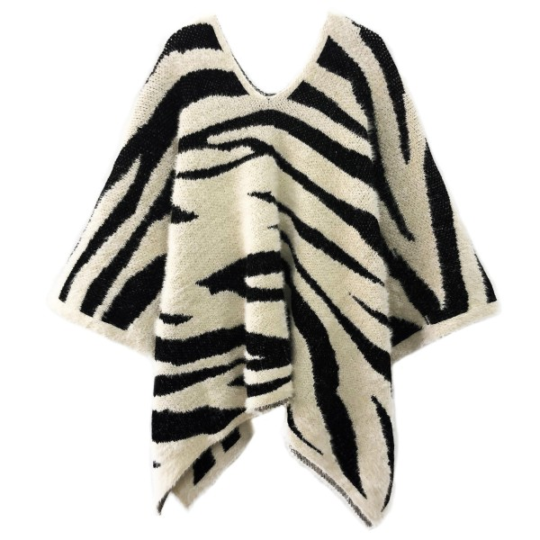 Wholesale do everything Love Brand Zebra Print Knit Poncho One fits most Long Ac
