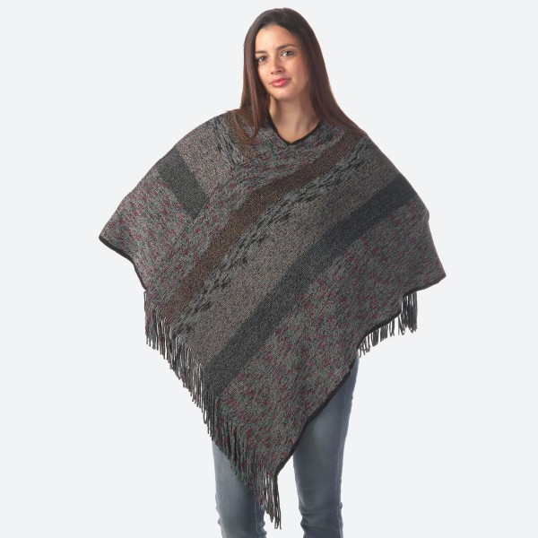"Women's Multicolor Marled Knit Stripe Poncho Featuring Fringe Tassels.  - One size fits most 0-14 - Approximately 36"" L - 80% Acrylic / 20% Polyester"
