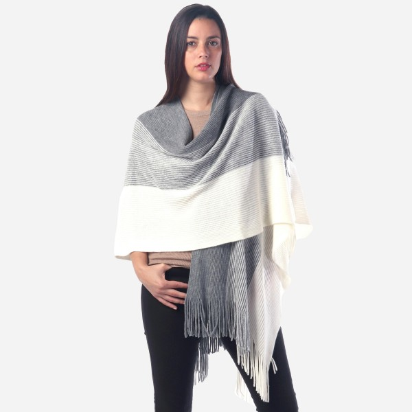 """Women's Ribbed Knit Stripe Ruana/Wrap Featuring Fringe Tassel Trim.  - One size fits most 0-14 - Approximately 33"""" Long  - 100% Acrylic"""