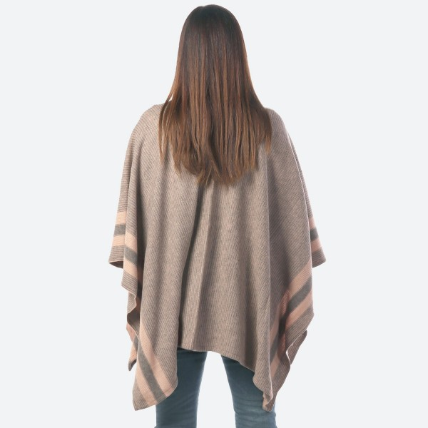 """Women's Ribbed Knit Wrap with Pockets Featuring Stripe Detail.  - One size fits most 0-14 - Approximately 30"""" Long  - 100% Acrylic"""