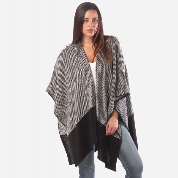 """Women's Black and White Knit Ruana.  - One size fits most 0-14 - Approximately 30"""" Long - 100% Acrylic"""
