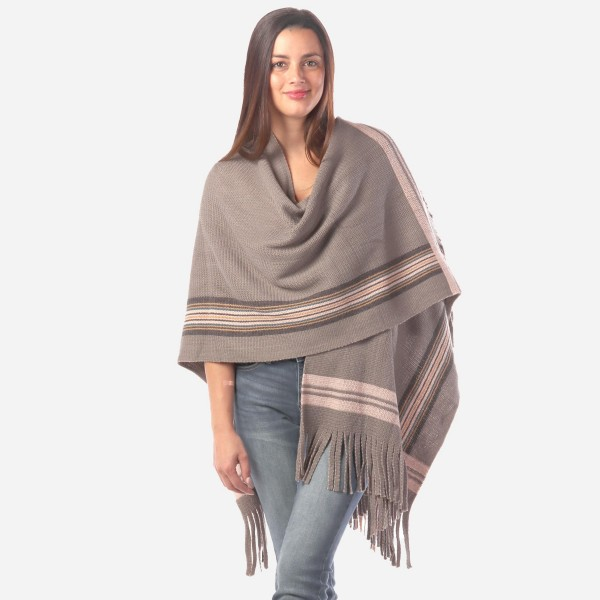 """Women's Grey Knit Wrap/Ruana Featuring Multicolor Stripe Bordered Trim with Fringe Tassels.  - One size fits most 0-14 - Approximately 30"""" Long  - 100% Acrylic"""
