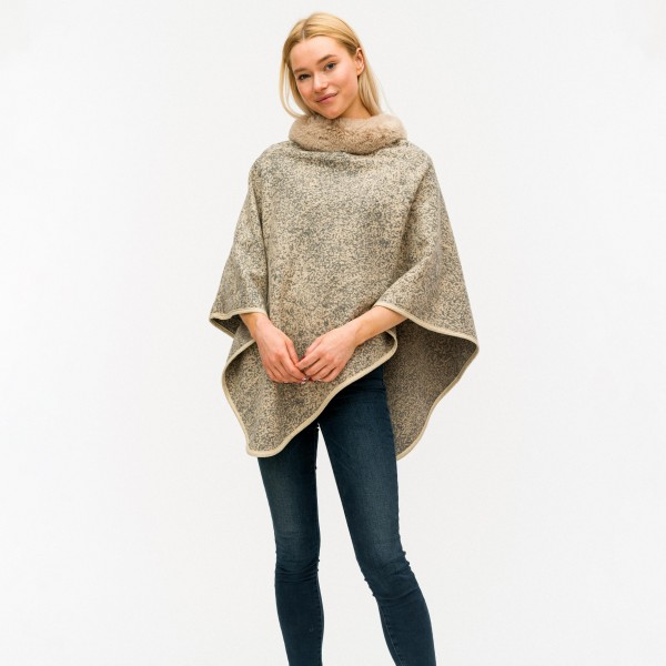"Women's Thick Marled Knit Poncho Featuring Faux Fur Neck Trim.  - One size fits most 0-14 - Approximately 31"" Long - 80% Acrylic / 20% Polyester"
