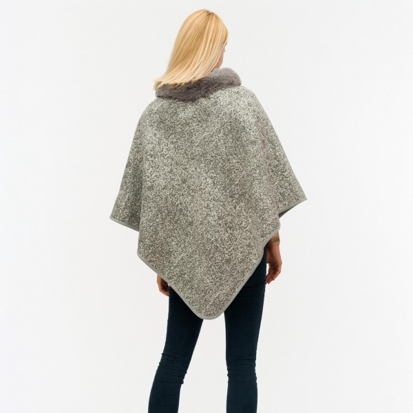 """Women's Thick Marled Knit Poncho Featuring Faux Fur Neck Trim.  - One size fits most 0-14 - Approximately 31"""" Long - 80% Acrylic / 20% Polyester"""