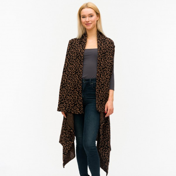 "Women's Leopard Print Knit Vest.  - One size fits most 0-14 - Approximately 40"" Long  - 100% Acrylic"