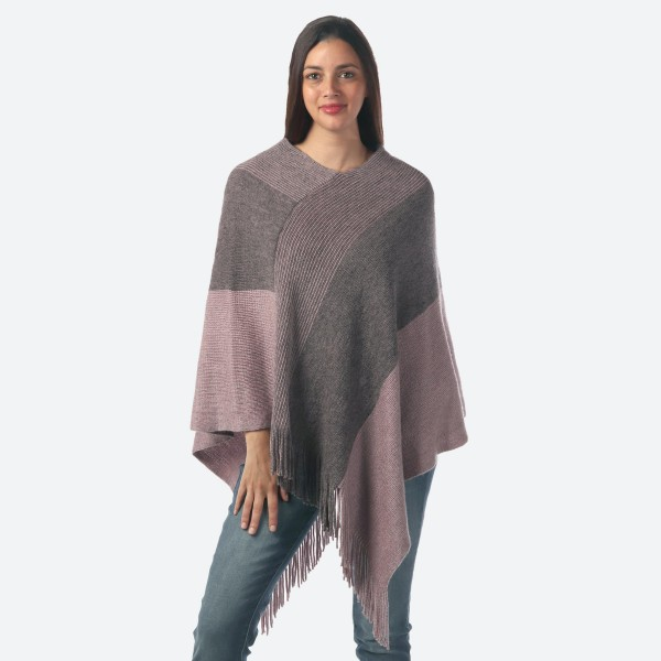 Wholesale women s Stripe Knit Poncho Fringes Metallic Accents One fits most Long
