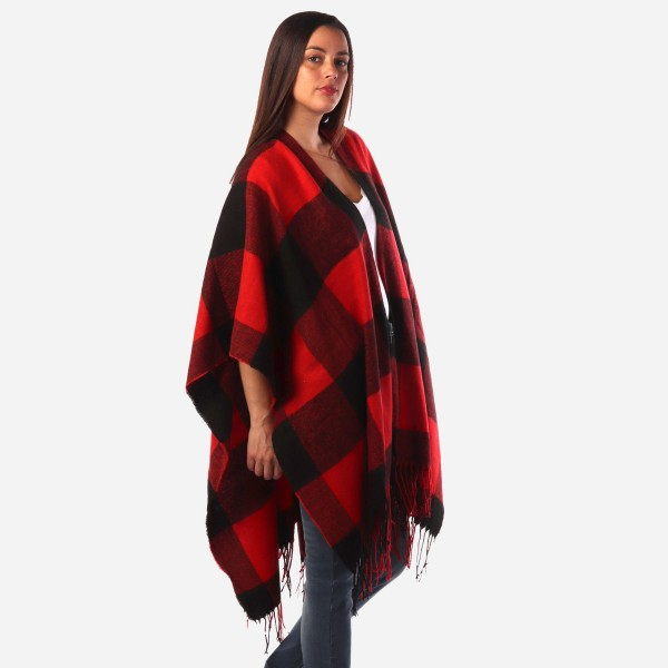 "Women's Buffalo Check Knit Ruana/Wrap Featuring Fringe Tassel Trim.  - One size fits most 0-14 - Approximately 36"" Long - 100% Acrylic"