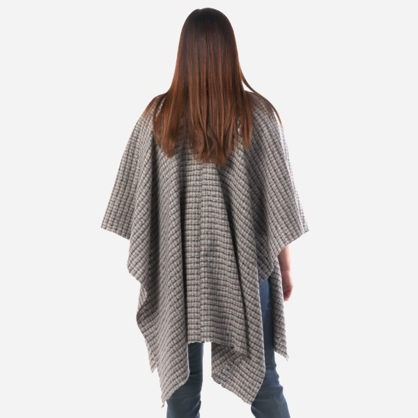 """Women's Grey & Pink Plaid Woven Wrap/Ruana.  - One size fits most 0-14 - Approximately 36"""" Long - 100% Polyester"""