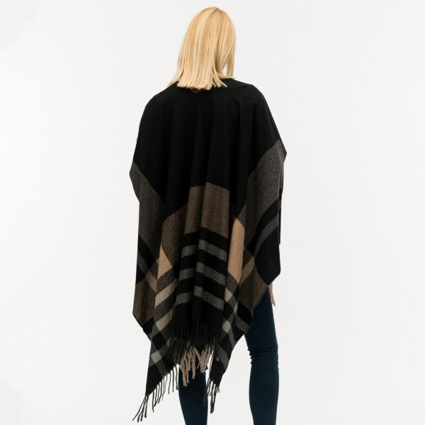 """Women's Black Fleece Plaid Wrap/Ruana Featuring Fringe Tassels.  - One size fits most 0-14 - Approximately 33"""" Long - 100% Polyester"""