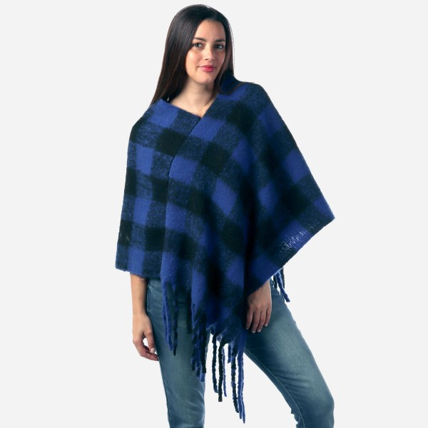 Wholesale women s Fleece Buffalo Check Poncho Fringe Tassels One fits most Long