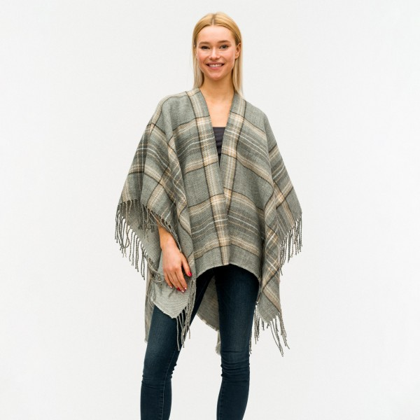 Plaid Ruana Featuring Fringe Details.   - One Size Fits Most 0-14 - 100% Acrylic