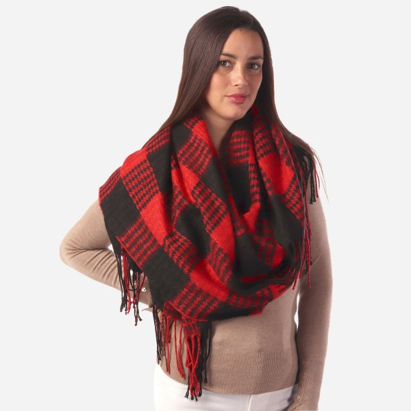 "Women's Buffalo Check Woven Knit Oblong Scarf Featuring Fringe Tassels.  - Approximately 25"" W x 80"" L - 100% Acrylic"
